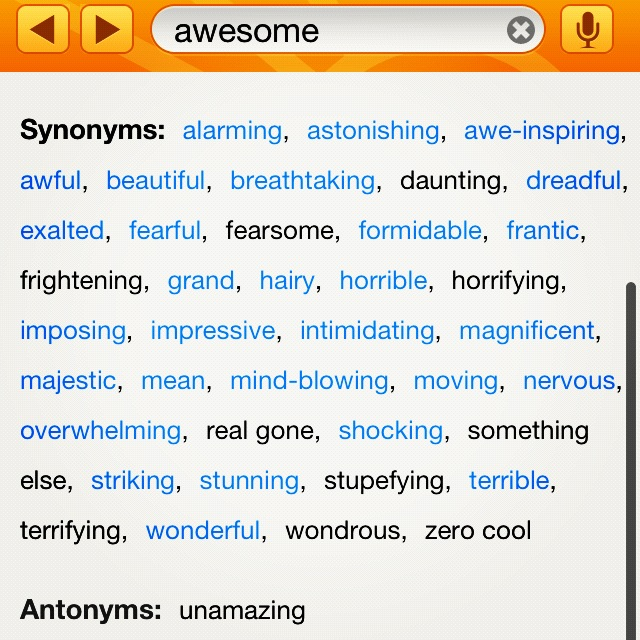 Intimidating thesaurus